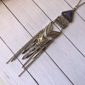 Jewelry - Boho Silver Dangle Necklace With Purple Stone